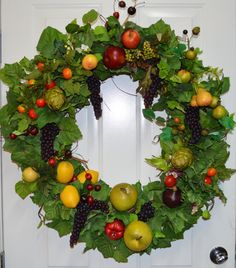 24 Kitchen Wreath Fruit Wreath Vegetable by TheBloomingWreath, $169.99
