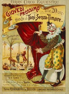 wonderful old Circus poster Old Circus, Circus Art, Circus Theme, Circus Book, Vintage Circus Posters, Retro Poster, Send In The Clowns, Vintage Images, Vintage Art