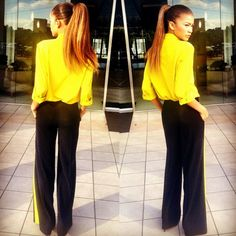 Get the Look: Zendaya Coleman's Instagram DKNY Yellow Button Front Blouse and DKNY Black Yellow Striped Tuxedo Pants