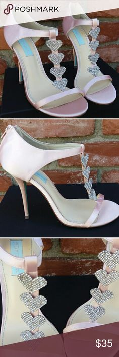 Pink Betsey Johnson Satin  & Rhinestone Heels Stunning! Like pink satin sculptures. Pink satin with heart shaped rhinestone embellishments. In excellent condition. More pics coming. 4 inch heels. Betsey Johnson Shoes Heels