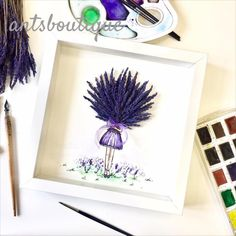 Girl with a bouquet of pressed Lavender. This is a cute gift from a preseved lavender. The drawing is drawn with watercolor and inc. Gifts For Girls, Gifts For Friends, Cute Gifts, Lavender, Bouquet, Watercolor, Drawings, Etsy, Beautiful Gifts