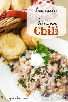 Slow Cooker Cream Cheese Chicken Chili at https://therecipecritic.com  This amazing chili is only 189 calories a cup!!  You don't have to sacrifice on taste or flavor it is delicious!.