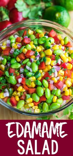 This healthy Edamame Salad is tossed with a homemade Cilantro Lime Dressing for a colorful side dish that& quick, easy, and crazy delicious! Salad Recipes For Dinner, Pasta Salad Recipes, Christmas Salad Recipes, Side Salad Recipes, Breakfast Recipes, Vegetarian Recipes, Cooking Recipes, Healthy Recipes, Turkey Recipes