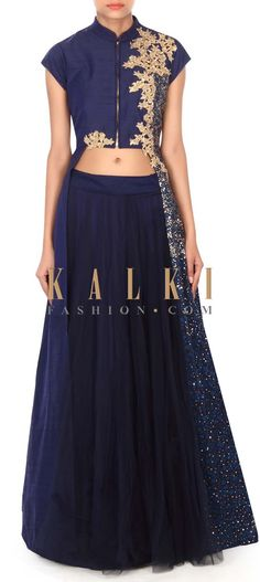 Buy this Navy blue lehenga adorn in sequin embroidery only on Kalki