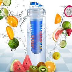 Elite Infuser Water Bottle - Infuse your water with refreshing and nutrient rich fruit. You can get healthy in style with this heavy duty tritan bottle that comes in blue or red.