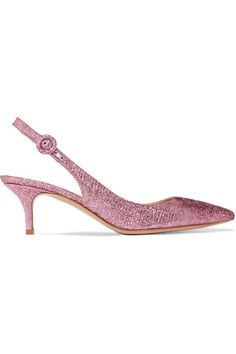 Gianvito Rossi - Textured-lamé Slingback Pumps - Baby pink - IT36.5