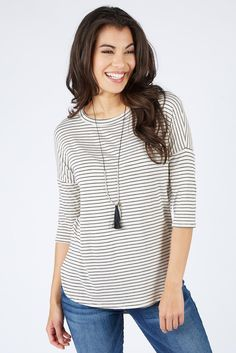 Zion Stripe Top $48    The #1 boutique for moms! $5 Flat Rate Shipping + FREE shipping on all orders over *$50. #Evereve