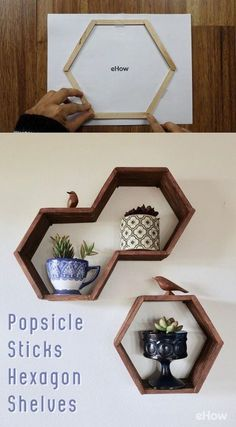 Hexagon Honeycomb Shelves Made With Popsicle Sticks Tutorial, DIY and Crafts, Can you beleive these mid-century modern hexagon shelves are made with toothpicks? SO easy, plus a free printable here, you can make th. Honeycomb Shelves, Hexagon Shelves, Diy Wand, Craft Stick Crafts, Diy And Crafts, Diy Projects With Popsicle Sticks, Decor Crafts, Popsicle Stick Crafts For Adults, Diy Popsicle Stick Crafts