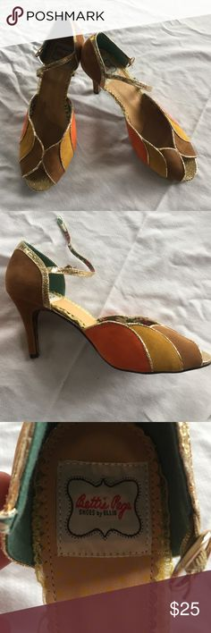 Bettie Page heels - sz 10 Never been worn. Brown, orange and yellow suede peep-toe heels with gold trim accents. Made by Bettie Page, shoes by Ellie. Size 10 Bettie Page Shoes Heels