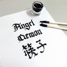 Carvingdisposable chopsticks as calligraphy pen. Angel, Demon, 筷子(chopsticks)  #type #calligraphy #lettering #typography #gothic