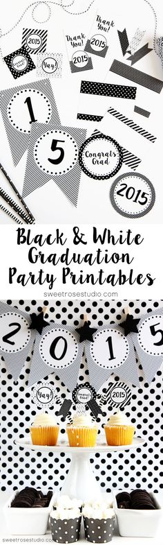 Free Black and White Graduation Party Printables, ready to make your party stand out!