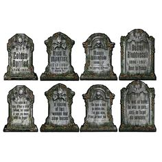 Create the creepiest Halloween party with our Tombstone Cutouts. These Tombstone Cutouts will be a big hit at your Halloween party. Hang them from the ceiling Haunted Mansion Halloween, Halloween Graveyard, Halloween Tombstones, Scary Halloween, Halloween Ideas, Halloween Crafts, Halloween Stuff, Haunted Mansion Decor, Beistle Halloween