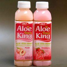 OKF 2 pc Aloe King YOGOS Strawberry & Peach Aloe Vera Drink juice 16.9 oz fruit #OKF