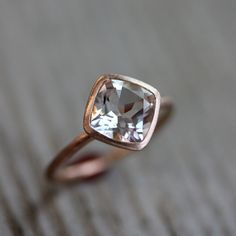 White Topaz and 14k Recycled Rose Gold Solitaire Ring