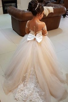 Ball Gown Girl Dresses,Round Neck Flower Girl Dresses,Light Champagne Girl Dresses,Cute Flower Girl Dresses