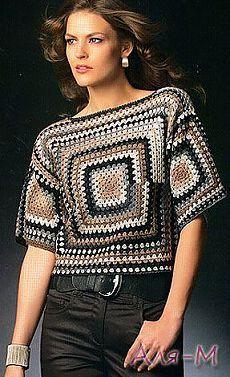 New Trend Granny Sqaure Crochet Top Pattern Ideas Part 41 : New Trend G. New Trend Granny Sqaure Crochet Top Pattern Ideas Part 41 : New Trend Granny Sqaure Croche Débardeurs Au Crochet, Pull Crochet, Crochet Woman, Crochet Blouse, Crochet Poncho, Crochet Baby, Crochet Tops, Single Crochet, Crochet Vests
