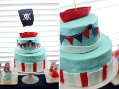 Nautical Pirate Cake: Ahoy mateys! A blue and red towering cake with bunting and a pirate's ship won't scare little mates, but it will draw them in to the sweets table! Source: Pink Piggy Design
