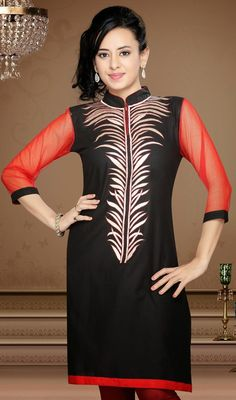 Black and Red Cotton Net Tunic Be the dancing doll in your onlookers eyes when you dance donning this black and red cotton net tunic. The lovely lace and resham work across tunic is awe-inspiring. #FashionableTunicTop #IndianLatestKurtis