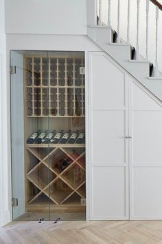 Bar Under Stairs, Under Stairs Wine Cellar, Under Staircase Ideas, Wine Cellar Basement, Staircase Storage, Under Stair Storage, Wine Cellar Design, Glass Wine Cellar, Wine Cellar Modern