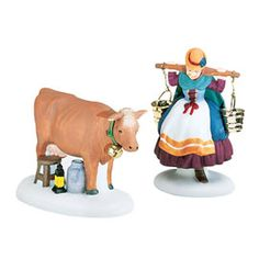 """Dept. 56 #58384. Dickens Village Series; The 12 Days of Christmas: """"Eight Maids-A-Milking,"""" For the little farm yard """"scene""""."""