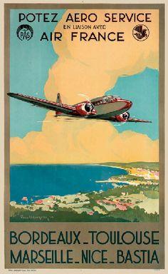 """Potez Aero Service en liaison avec Air France - Bordeaux - Toulouse - Marseille - Nice - Bastia -1930""""s - (P. Langelle) -"""