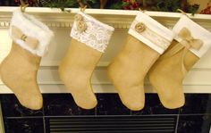 Christmas Stocking Burlap Stocking Rustic Stocking by byVanessaToo