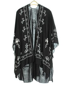 Look at this #zulilyfind! Black & White Floral Kimono by SUE & KRIS #zulilyfinds