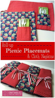 How to make Picnic Placemats and napkins || they roll up making it easy to store and transport. Super cute!