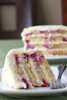 #Dessert / Meyer Lemon Iced Raspberry Yogurt Cake