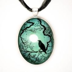 I found 'Raven in Teal Silhouette Handmade Jewelry Fine Art Pendant' on Wish, check it out!