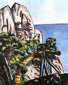Cap Martin. Max Beckmann (1884-1950) was a German painter, draftsman, printmaker, sculptor, and writer. Although he is classified as an Expressionist artist, he rejected both the term and the movement. In the 1920s, he was associated with the New Objectivity (Neue Sachlichkeit), an of Expressionism that opposed its introverted emotionalism. Unlike several of his avant-garde contemporaries, Beckmann took up and advanced the tradition of figurative painting.