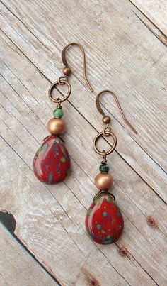 Red Boho Earrings with Copper and Turquoise Red by Lammergeier, $18.00