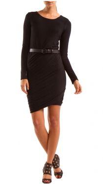 Long Sleeve Dress W Belt , Black
