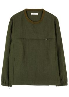 Ones Stroke dark green linen top Ribbed jersey neckline, concealed zipped chestpocket andside detail, side pockets,elasticated cuffs, drawstring hem Slips on 100% linen; pocket lining: 100% cotton