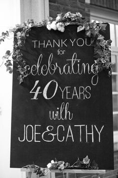 very pretty welcome sign – Magnolia Thymes | My Parents' 40th Anniversary Party 30th Anniversary Parties, Ruby Wedding Anniversary, Parents Anniversary, Anniversary Decorations, Anniversary Ideas, Anniversary Chalkboard, Anniversary Banner, Golden Anniversary, Anniversary Jewelry