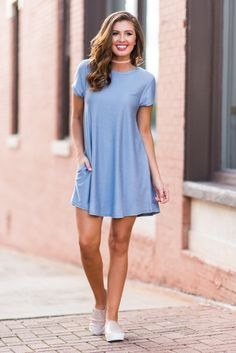 """""""Plan To Be Pretty Dress, Light Indigo""""If you are not only planning to be pretty but also be super comfy, then this dress is for you! #newarrival #shopthemint"""