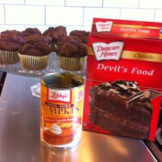 No joke! Take 1 can of pure pumpkin and 1 box of Devils Food Cake Mix. Combine only those 2 ingredients!!!! Bake @ 400 for 20 min. Low fat and low cal!! Soooo yummy:) I promise!