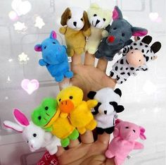2016 Farm Zoo Animal Finger Puppets Toys Boys Girls Babys Party Bag Filler NEW Kawaii Kids Stuffed Toys For Children Dolls Puppets For Kids, Hand Puppets, Plush Animals, Zoo Animals, Plush Dolls, Doll Toys, Tre Sp, Toys For Boys, Kids Toys