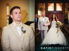 Groom sees his bride for the first time as she walks down the aisle during this fall wedding ceremony in Geneseo - photos by Rochester, NY wedding photographer Katie Finnerty Photography | http://www.katiefinnertyphotography.com/blog/2015.10.20.twin-silos-barn-wedding-kasey-max