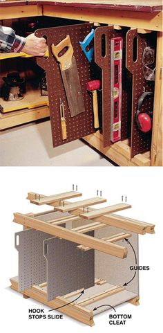 Organizador de herramientas Tool Slides ( http://americanwoodworker.com/blogs/projects/archive/2008/04/17/Tool-Storage.aspx )