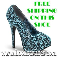 Bordello Burlesque Shoes Teeze Floral Baby Blue Pinup Platform Heels