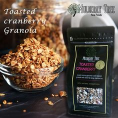 Get handmade toasted cranberry granola online direct from from the manufacturer Mulberry Tree. Our delicious granola is tasty and extra health, when we combined with these toppings. Granola Brands, Mulberry Tree, Breakfast Cereal, Cranberries, Healthy Breakfast Recipes, Superfood, Fresh Fruit, Whole Food Recipes, Awards