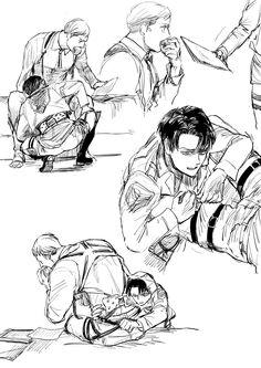 Attack On Titan Funny, Attack On Titan Ships, Attack On Titan Fanart, Levi And Erwin, Levi X Eren, Levi Ackerman, Levi X Petra, Anime Guys, Manga Anime