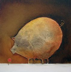 Sara Paxton Artworks-Gold Pig-30x30