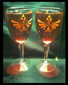 Legend Of Zelda Wedding wine glasses by MCEtching on Etsy, $45.00