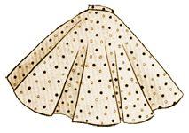 Glockenrock / Tellerrock, zb für über einen Petticoat / 50er Jahre