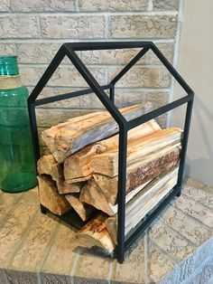 The Log Cabin - Firewood Storage – Black & Smith Ironworks (firewood holder, wood storage, firewood storage, wood holder, log holder, log storage, fireplace, fireplace decor)