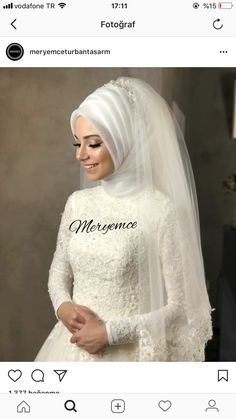 You can find different rumors about the history of the marriage dress; Muslim Wedding Gown, Muslim Brides, Wedding Hijab, Pakistani Wedding Dresses, White Wedding Dresses, Wedding Dress Styles, Dress Wedding, Wedding Makeup, Dress Style Pakistani