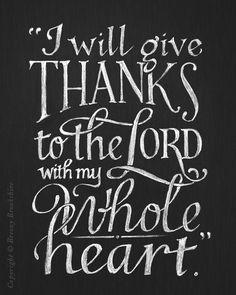 Give Thanks - Chalkboard Art Print Bible Verse - 8x10. $25.00, via Etsy.