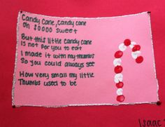 Candy Cane Poem: red and white thumbprints, construction paper, glitter glue! Candy Cane Poem, Candy Cane Crafts, Preschool Christmas Crafts, Holiday Crafts, Kindergarten Christmas, Preschool Winter, Daycare Crafts, Kid Crafts, Christmas Card Sayings